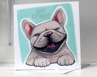 French Bulldog (Frenchie) Happy Birthday Card - Turquoise