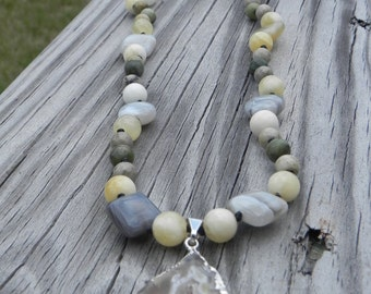 Natural Goddess Knotted Gemstone Necklace