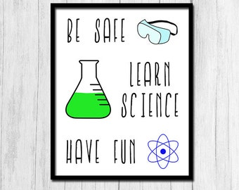 Science Teacher Gift Classroom Decor Back to School Poster Safety Poster Lab Safety Laboratory Digital Download