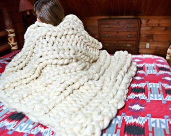 Giant-Blanket-Pattern Knit Wool Roving THE HAMPTON BEACH chunky giganto throw pdf download 4 styles, 2 sizes