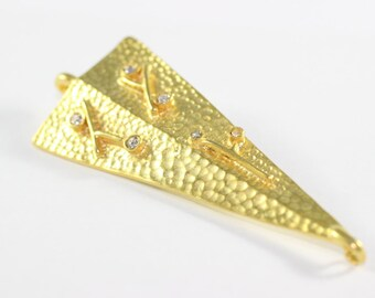 Gold Plated Hammered Triangle Connectors - 30mm x 75mm Triangle Pendants - Geometric Connector with White Cubic Zirconias