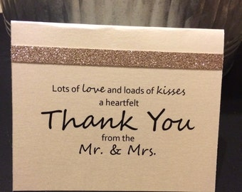 Blush and Champagne Thank You Cards