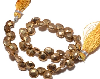 Natural Pyrite Beads, Pyrite Heart Beads, Faceted Pyrite, Coated Gold Pyrite, 8mm Beads, 4 Inch Half Strand, SKU-M78