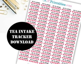 Tea Intake Printable Planner Stickers // Erin Condren Printable / Plum Paper Planner / Planner Insert Instant Digital Download 00060
