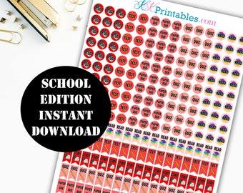 School Edition Printable Planner Stickers / Erin Condren Life Planner / Kikki / Plum Paper Planner / Midori Insert / Planner Insert 00089