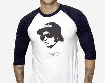 Eazy E Black and White Raglan