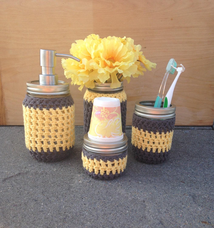 Mason Jar Bathroom Set Yellow And Grey Decor 4 Pieces