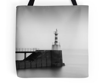 Photo tote, arty tote, gym bag, shopping bag, everyday bag, shoulder bag, grocery bag, book tote, pretty bag, lighthouse bag, gift for mom