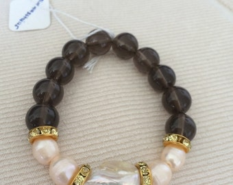 Smokey quartz beaded bracelet with fresh water pearls