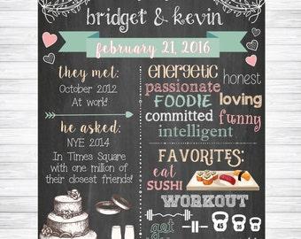 Wedding Chalkboard Sign, Couples Wedding Shower Chalkboard Sign, Wedding Gift, Bridal Shower Chalkboard Sign, Bridal Shower Keepsake