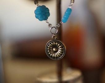 Blue Flower and Medallion Bracelet