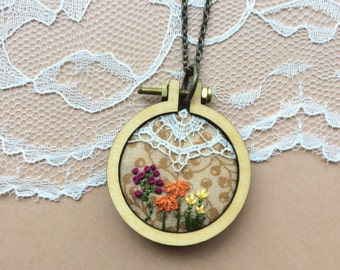 Wildflowers Mini Hoop Necklace, Vintage Lace Necklace, Hand Embroidered Jewelry, Rustic Jewelry, Boho Chic Necklace, Wood Necklace