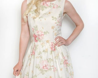 Handmade Vintage Inspired Floral Tea Dress Bridesmaid Rockabilly Size 12