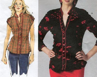 "FREE US SHIP Vogue 1260 Sandra Betzina Today's Shirred Blouse 2011 Custom Fit Oop 32- 55"" Bust New Sewing Pattern Out of Print Designer"