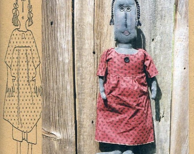 "FREE US SHIP Bless Your Heart Country Crafts 22"" Doll Hortense Primitive Folk Art Uncut New Old Store Stock Sewing Pattern Ragdoll cloth"
