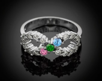 Sterling Silver Infinity CZ Ring - Triple Birthstone Customizable CZ Infinity Ring