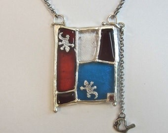 Stained Glass and Fine Silver Lizards&Fish necklace