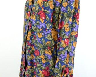 Fruit & Foliage Oversized Button Down Blouse + Mandarin Collar