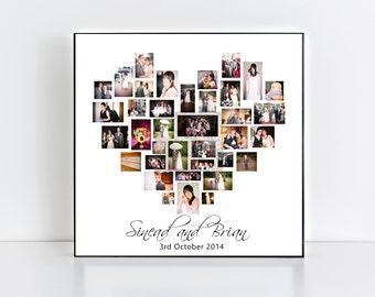 wedding collage frameplaque heart photo collage love wedding anniversary