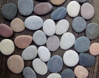 35 Large Flatt Beach Rocks -Flat sea Stones -Wedding Stones -Wishing Stones - Wedding Guest Book