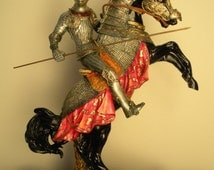 Medieval Knight riding Horse statue