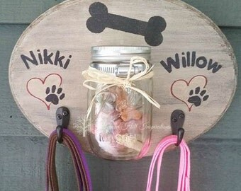Personalized Doggie Treat and Leash Holder