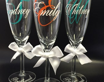 Personalized Glasses, Bridesmaid Glasses,Bridal Party, Mother of the Bride, Bride, Mother of the Groom,