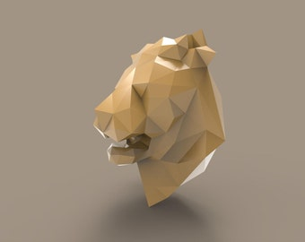 Printable Paper Model Of Lion Trophy - Diy - Pdf Pattern