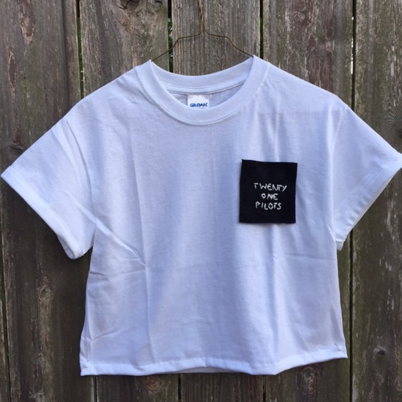 Twenty one pilots hand embroidered pocket t shirt by