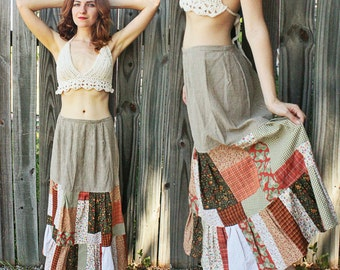 Handmade Bohemian Earth Toned Patch Skirt