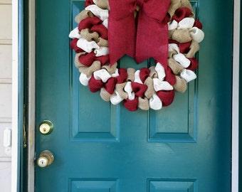 Maroon White & Burlap Wreath