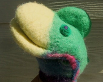 """Puppet """"Barzoute""""-felted merino wool is soft and Nice. For hand of child or adult"""