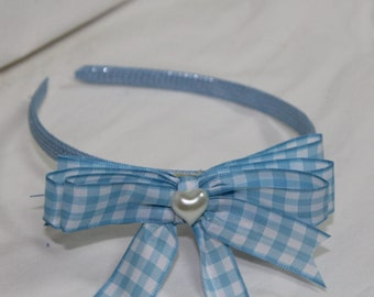 Girls Headband, Girls Hair accessory, Girls Blue Gingham check Head band, Gingham check hair bow, Hairbow, Blue Headband, Toddler headband