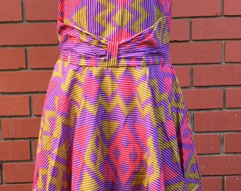 STOCK CLEARANCE!! Vintage Style halter neck dress/Abstract Pink/Batik print/Surabaya