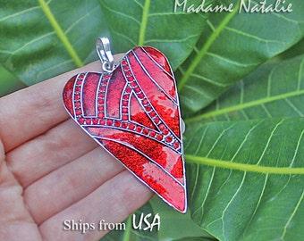 Red Rhinestone Enamel Heart Pendant, Big Heart Pendant, Long Sweater Heart Necklace Pendant, Heart in Shades of Red