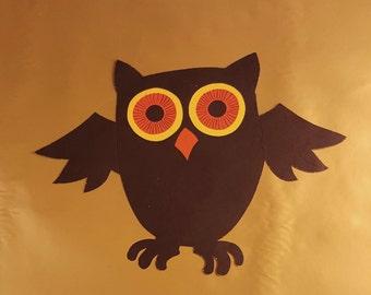 Vintage Halloween Owl, Die-Cut Halloween Owl Decoration, 1970's Halloween