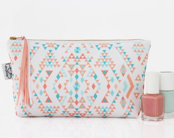 Coral ethnic cosmetic bag/Ethnic makeup bag/Original ANJESY designs/gift for her.