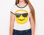 SALE Emoji Shirt - Sunglasses Emoji - Emoji - Funny Shirt - Tumblr Shirt - Teen Fashion - Ringer Tee - Women's Clothing
