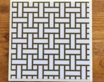 White Black and Gold Basketweave Regency Coasters-Ready!
