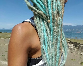 10 Natural Look Synthetic Dreads, Natural Looking Dreadlocks,10 SE Dread Extensions, Blonde Dreads, Blue Dreads, Accent Dreadlock Extensions