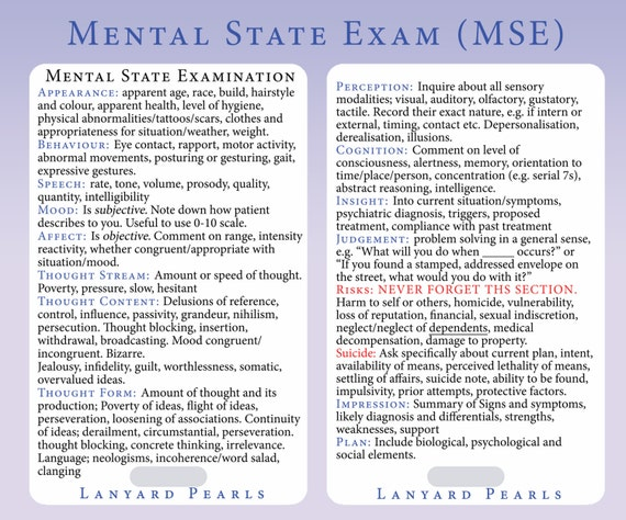 Mental State Exam MSE Lanyard Reference Card By LanyardPearls