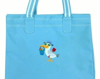 Bag embroidery, Machine embroidered sea gull on polyester shopping bag, Tote bag,diaper bag
