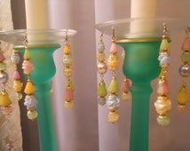 Tutti Frutti, Upcycled Bobeches with Vintage Necklaces, Candle Wax Catchers