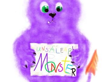 "Printable Art for Children, ""Unsaleable Monster"", Wall Decor, Print, Home Decor, Wall Art, Digital Download"