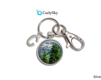 Christmas Tree Keychain Mountain Forest Keychain Snow Mountain Keychain Christmas Accessory Mountain Forest Keyring Christmas Keychain