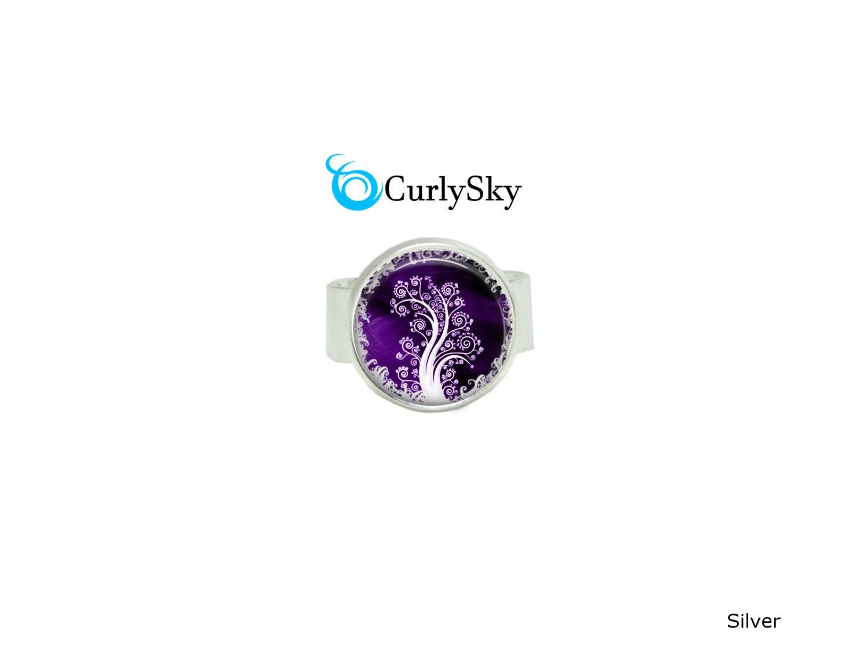 purple tree ring adjustable ring jewelry purple tree jewelry