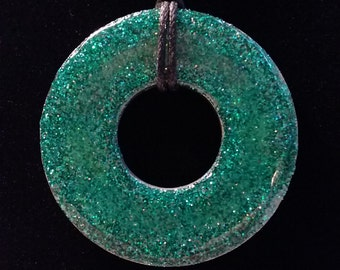 Glittery teal metal washer necklace