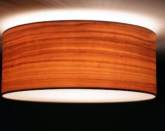 Ceiling lamp, D.50 cm, cherry-wood veneer