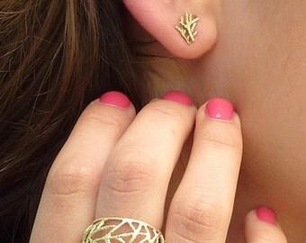 14k solid gold stud earrings, twigs earrings, nature earrings, solid gold studs 14k