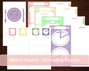 MIDORI Everyday Recipe Notebook Inserts, Digital Template, Colourful Meal List tracker, Cooking Food Plan Home, Cookbook for Housewife Mom